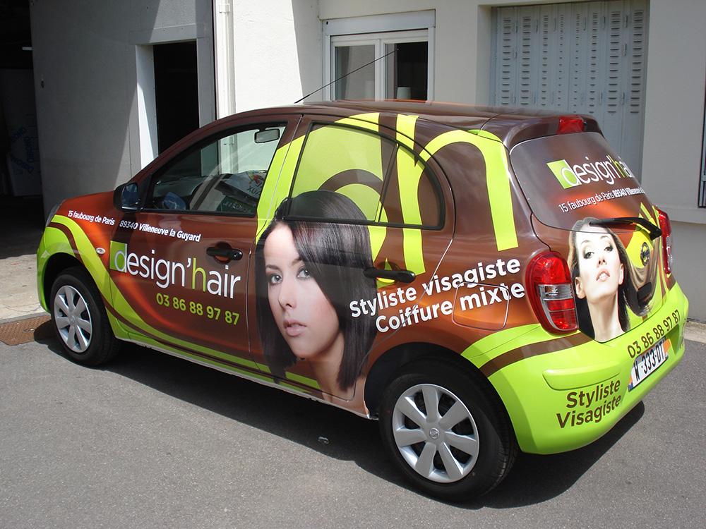 Covering salon de coiffure alpha publicit sens 89alpha - Panneau publicitaire salon de coiffure ...