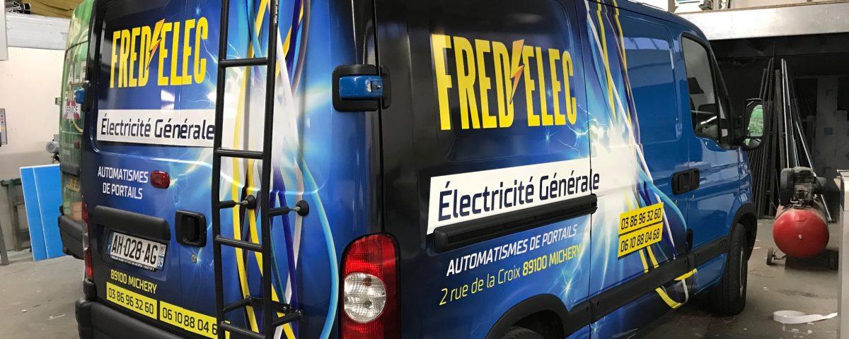 Pub véhicule électricien partiel covering par Alpha Publicité
